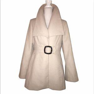JESSICA SIMPSON Sz L Beige Collar Buckle Coat